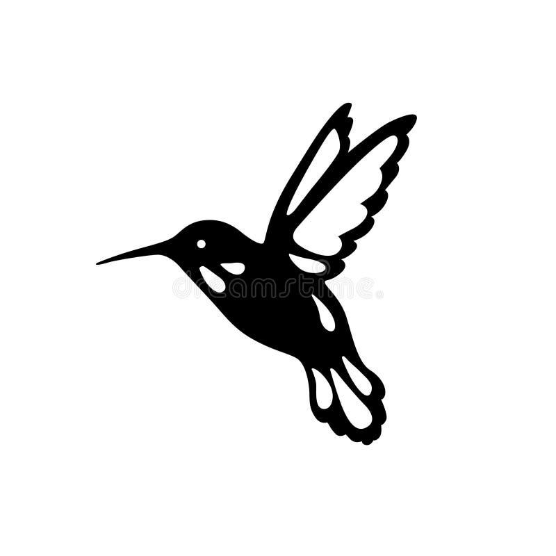 Птица колибри, план, черная тень, вырезывание лазера иллюстрация вектора