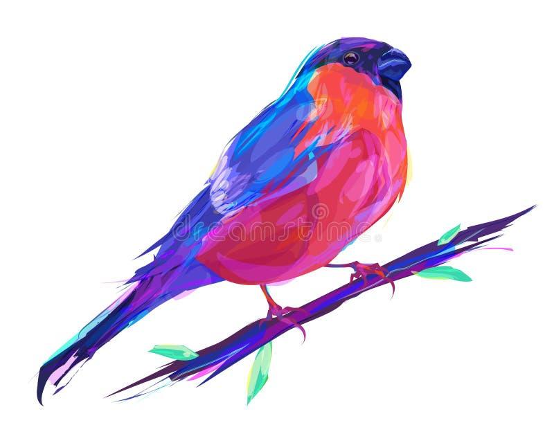 Птица милого красного Bullfinch экзотическая иллюстрация вектора