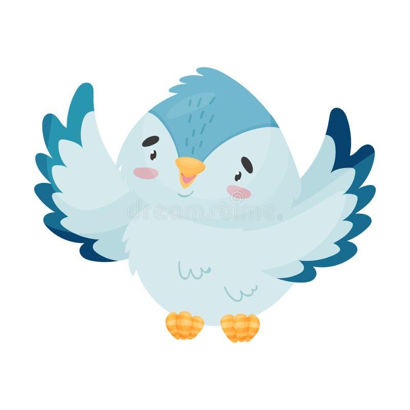 Птица мультфильма распространила свои крылья r иллюстрация штока