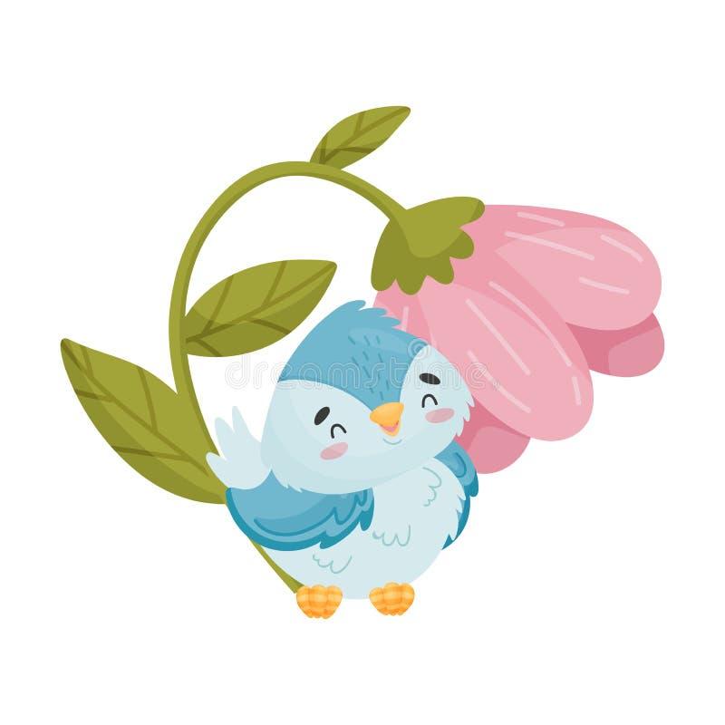 Птица мультфильма сидя под цветком r иллюстрация штока