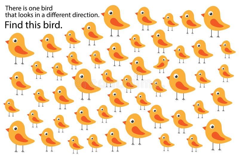 Птица находки которая смотрит в другом направлении, скачет игра для детей, preschool деятельность при для детей, задача головолом иллюстрация вектора