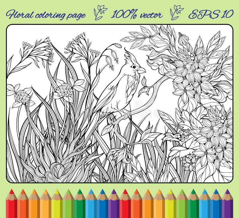 Птица на ветви в саде 2 иллюстрация штока