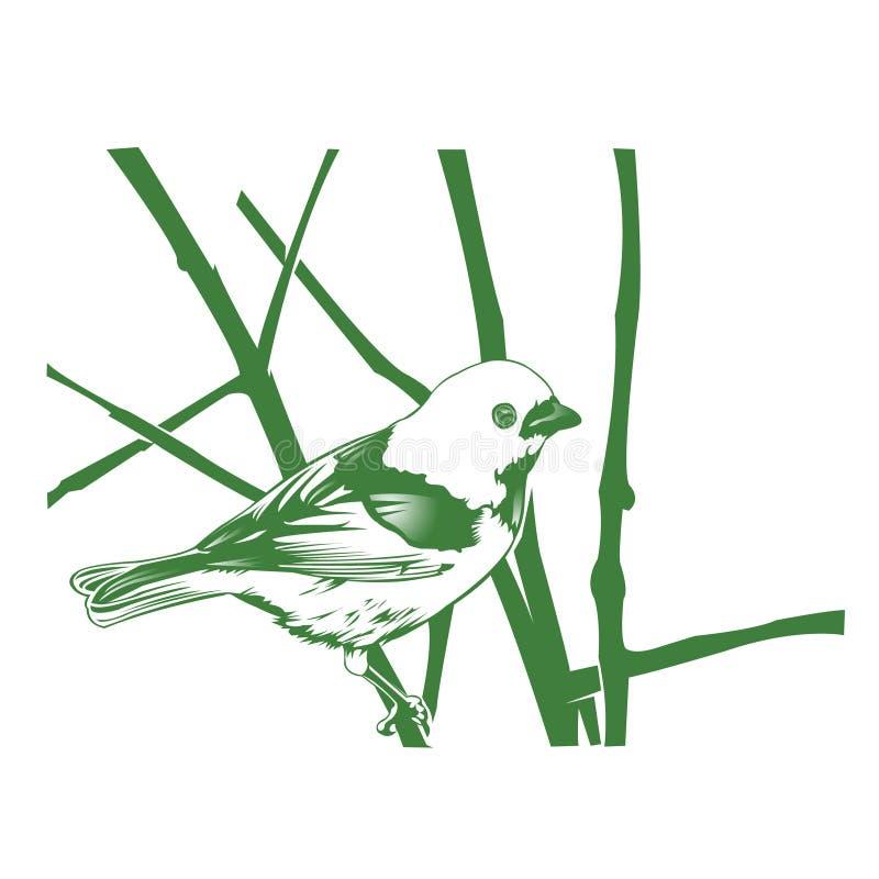 птица на нарисованной руке ветв-года сбора винограда бесплатная иллюстрация