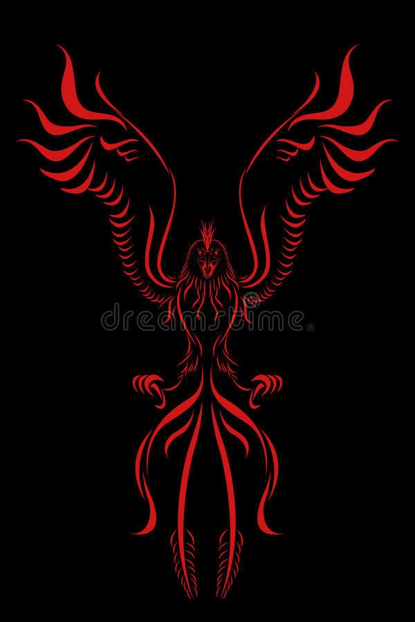 Птица пламени Феникс иллюстрация штока