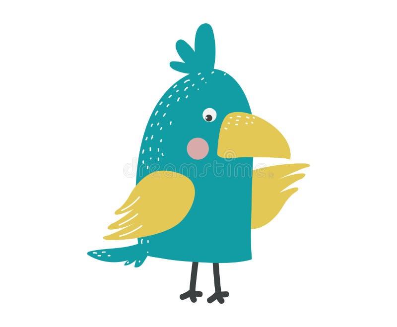 Птица попугая шаржа изолированная вектором иллюстрация штока