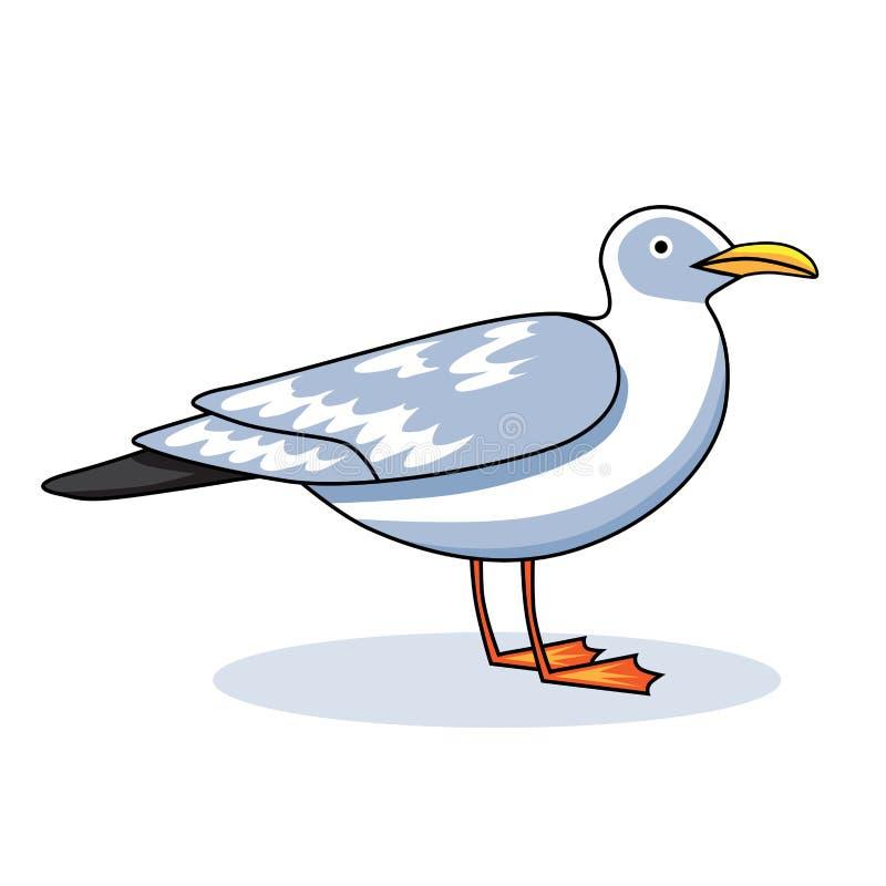 Птица полета чайки и чайка морской птицы Artoon ¡ Ð смотря чайку Чайка моря, на белой предпосылке Чайка сельдей для вашего журнал иллюстрация вектора