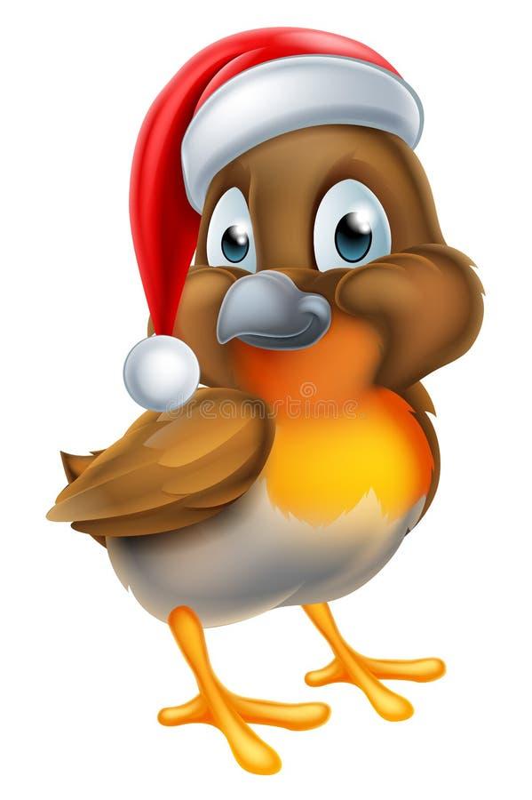 Птица Робина в шляпе рождества Санты иллюстрация вектора