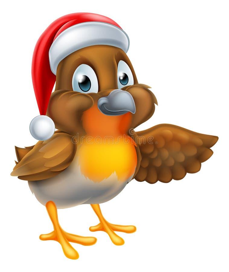 Птица Робина рождества шаржа иллюстрация вектора