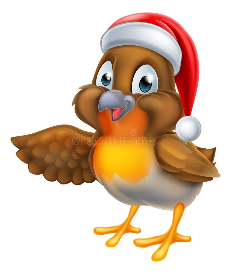 Птица Робина шаржа в шляпе рождества Санты иллюстрация штока