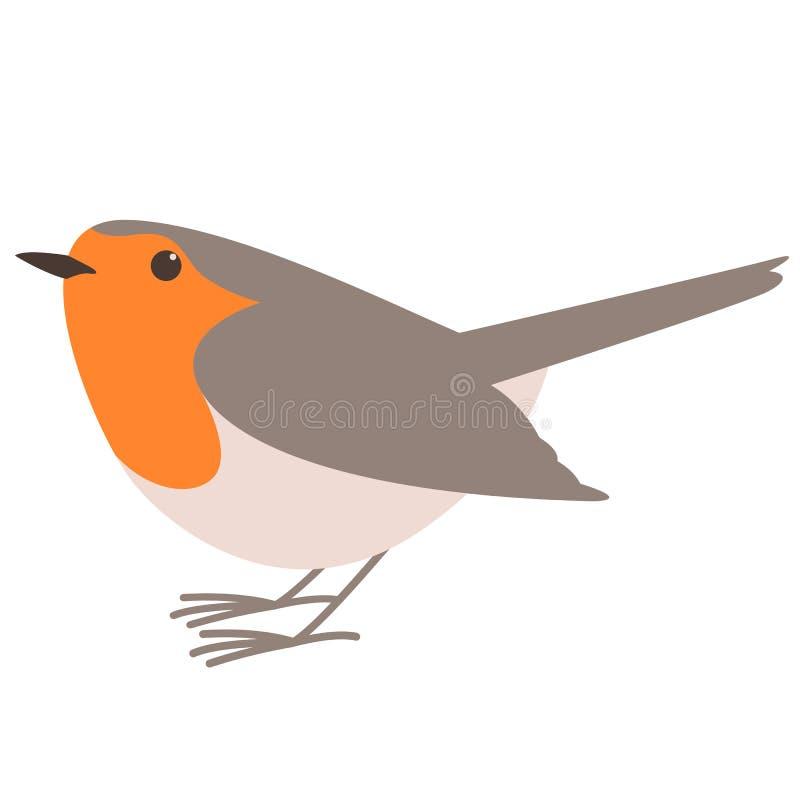 Птица Робин, иллюстрация вектора, плоский стиль, профиль бесплатная иллюстрация