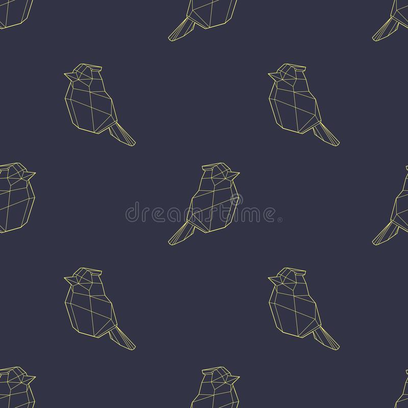 Птица современного полигонального конспекта геометрическая золотая на картине темно-синей предпосылки безшовной бесплатная иллюстрация