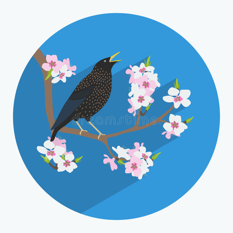 Птица сделанная в плоском стиле иллюстрация вектора