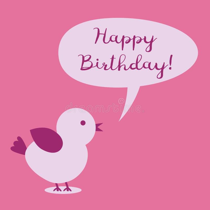Птица с пузырем мысли и текстом с днем рождения! бесплатная иллюстрация