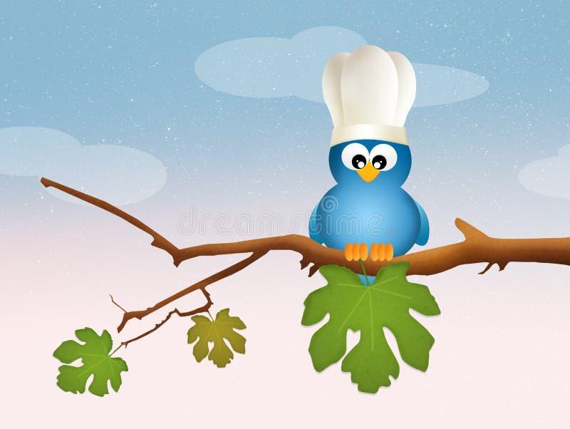 Птица с шляпой шеф-повара иллюстрация штока