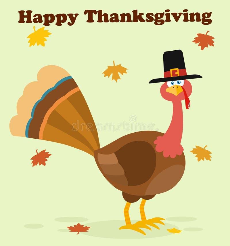 Птица Турции благодарения с персонажем из мультфильма шляпы паломника бесплатная иллюстрация