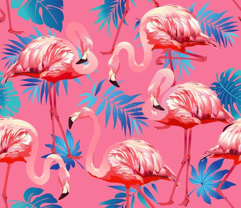 Птица фламинго и тропическая предпосылка цветков - безшовный вектор картины