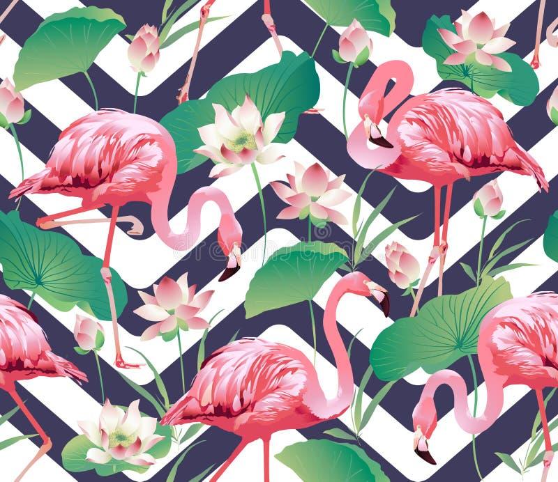 Птица фламинго и тропическая предпосылка цветков лотоса - безшовная картина иллюстрация вектора
