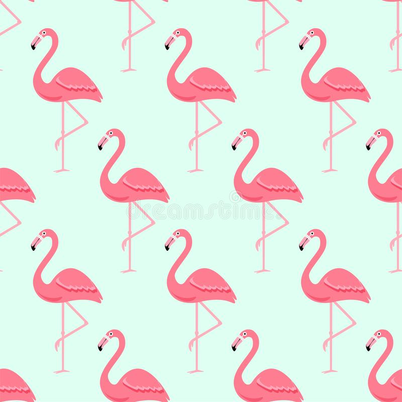 Птица фламинго и тропическая предпосылка цветков - ретро безшовная картина иллюстрация штока