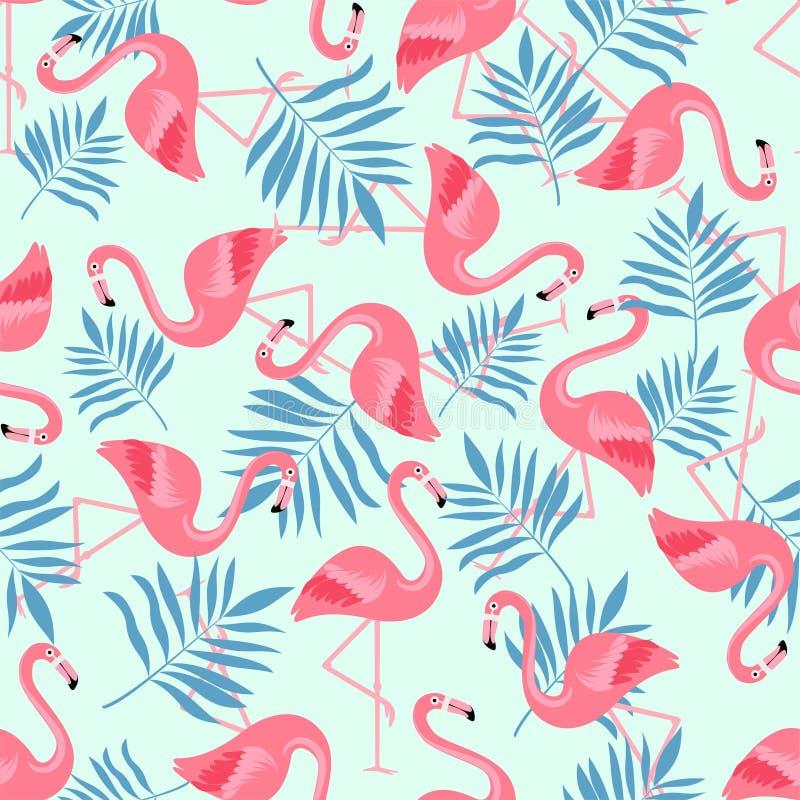 Птица фламинго и тропическая предпосылка цветков - ретро безшовная картина иллюстрация вектора