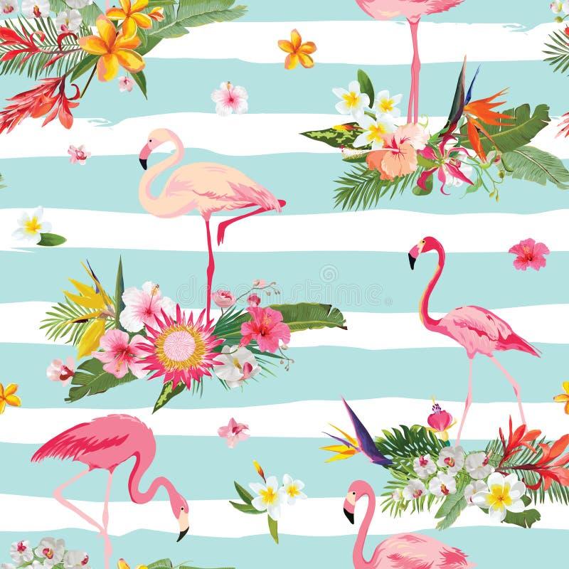 Птица фламинго и тропическая предпосылка цветков безшовное картины ретро иллюстрация штока