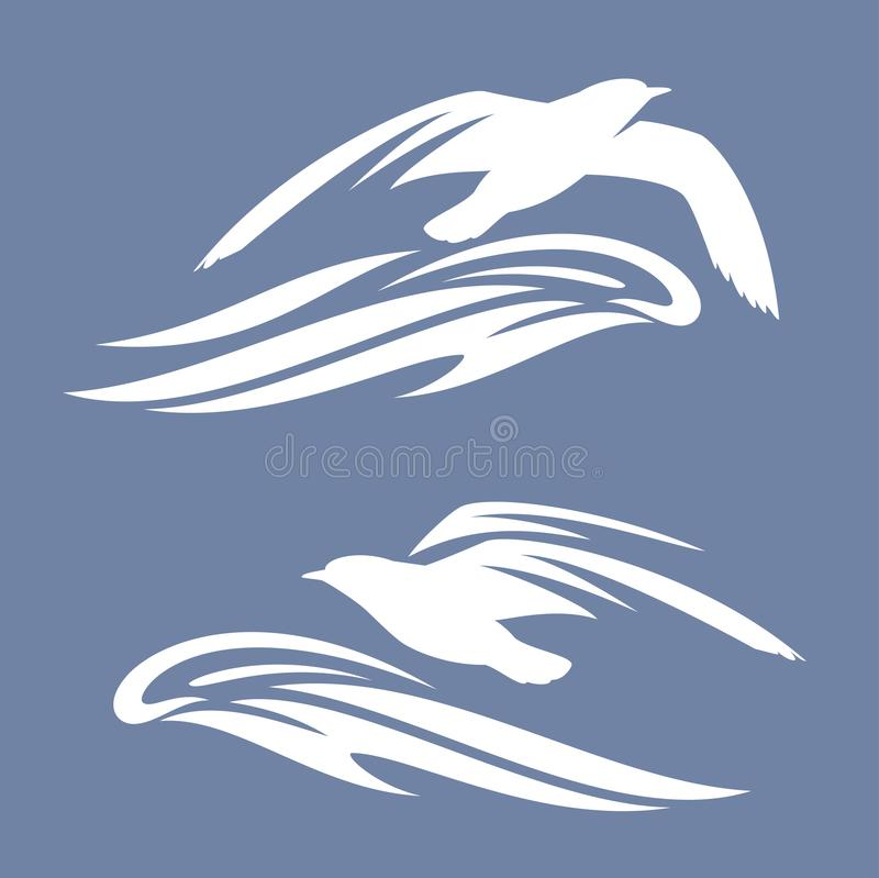 Птица чайки моря над силуэтом вектора океанской волны иллюстрация штока