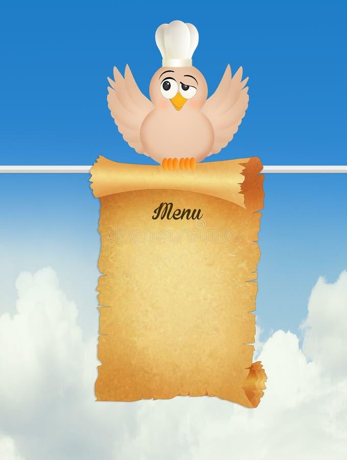 Птица шеф-повара с меню иллюстрация штока