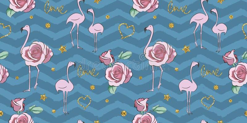 Птица яркого блеска фламинго с картиной лист monstera безшовной иллюстрация штока