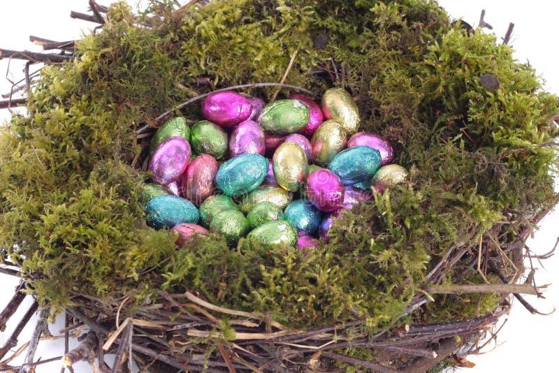 птица eggs золотистое гнездй над белизной стоковая фотография
