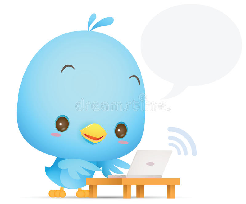 Птица Kawaii голубая используя компьтер-книжку иллюстрация штока