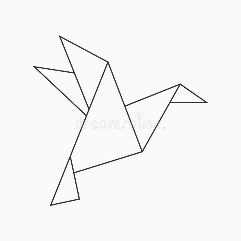 Птица Origami Геометрическая линия форма для искусства сложенной бумаги вектор иллюстрация штока