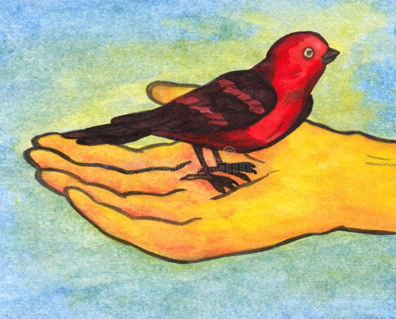 Птица Reiki в руке (2008) иллюстрация вектора