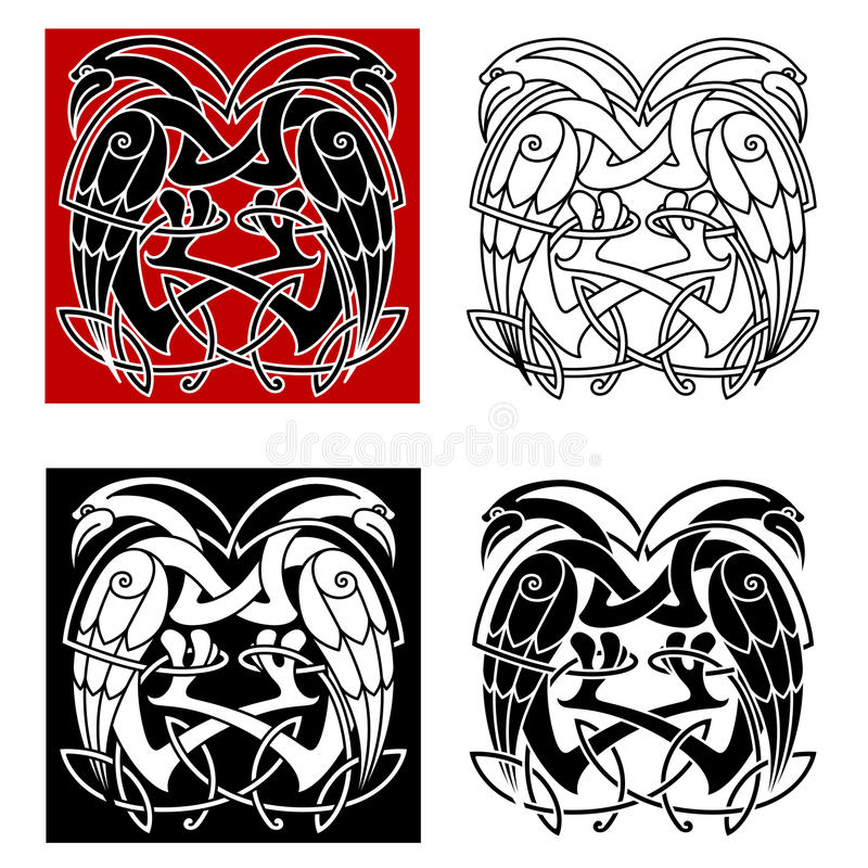 Птицы аиста или цапли с кельтскими картинами иллюстрация вектора