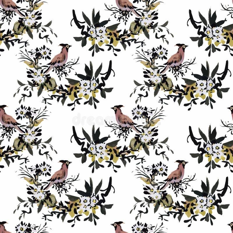 Птицы акварели одичалые экзотические на картине цветков безшовной на белой предпосылке бесплатная иллюстрация