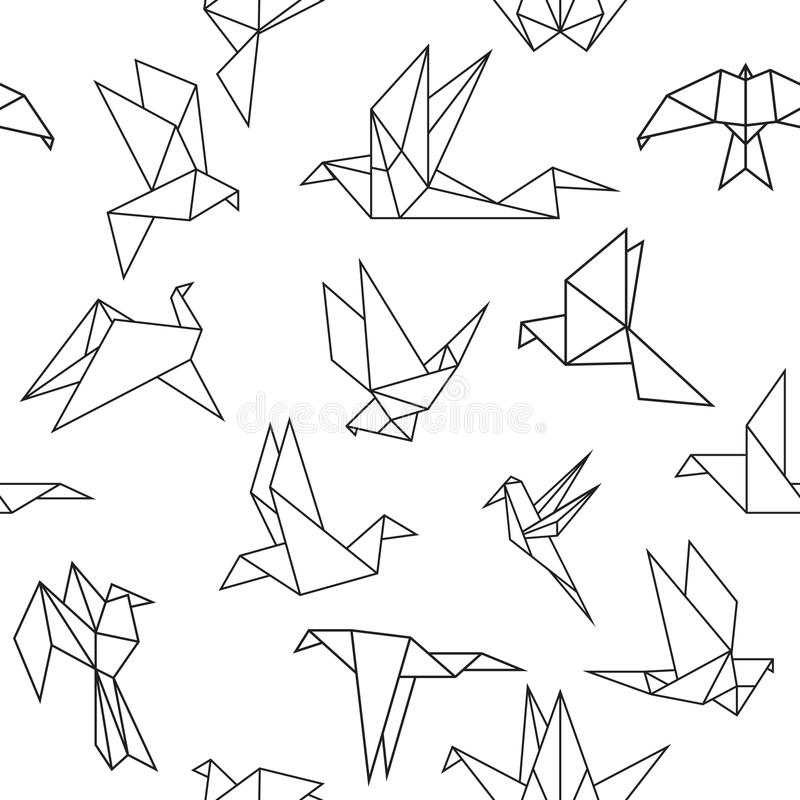 Птицы бумаги Origami иллюстрация штока