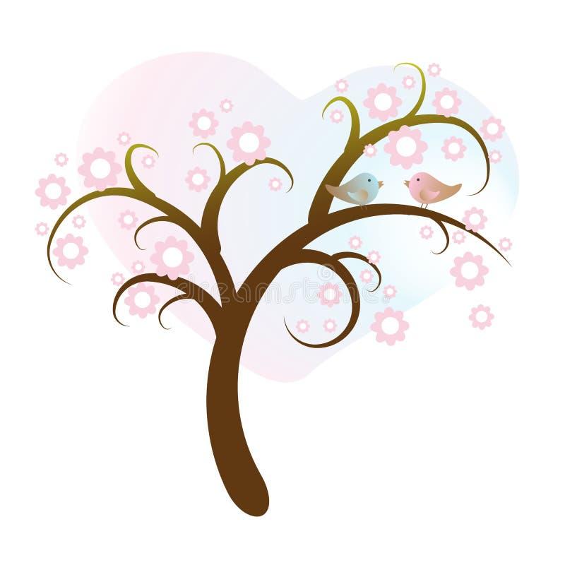 Download Птицы в дереве иллюстрация вектора. иллюстрации насчитывающей пинк - 40582813