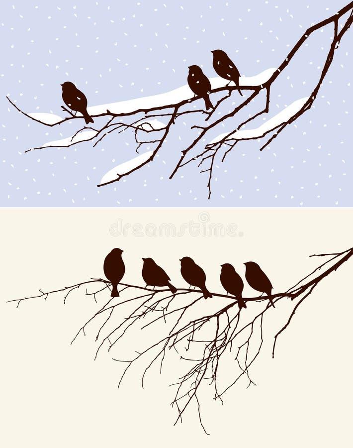 Птицы в зиме и весной бесплатная иллюстрация