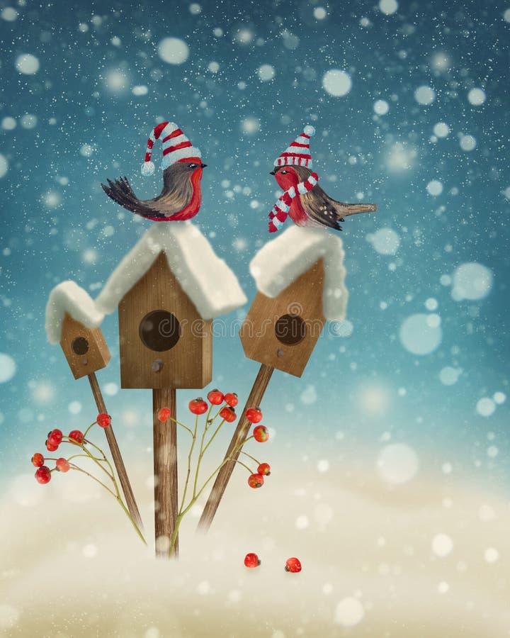 Птицы в зиме бесплатная иллюстрация