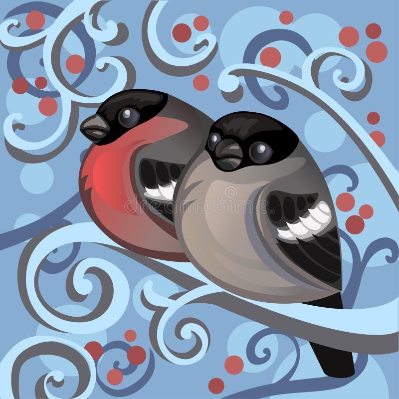 Птицы зимы иллюстрация вектора
