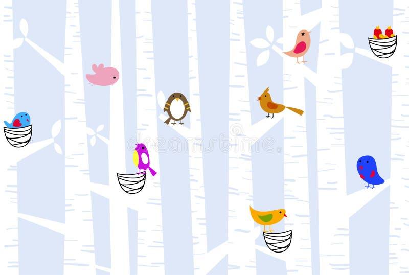 Птицы и вал иллюстрация штока