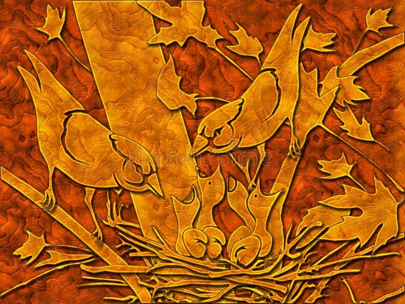 Птицы и гнездй иллюстрация штока