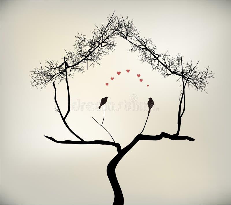 Птицы и дерево иллюстрация вектора