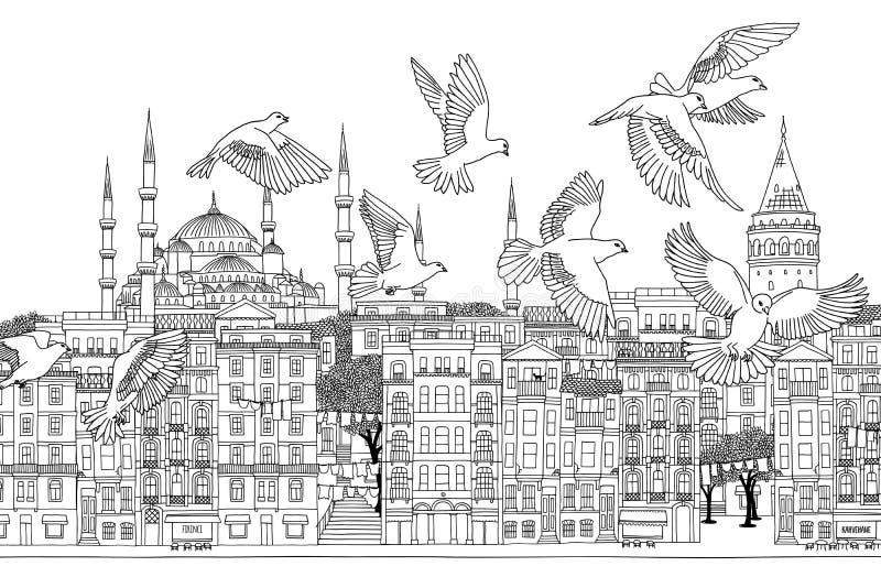 Птицы над Стамбулом иллюстрация штока