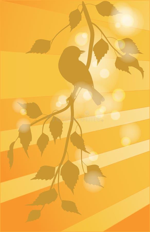 Птицы на ветвях иллюстрация штока