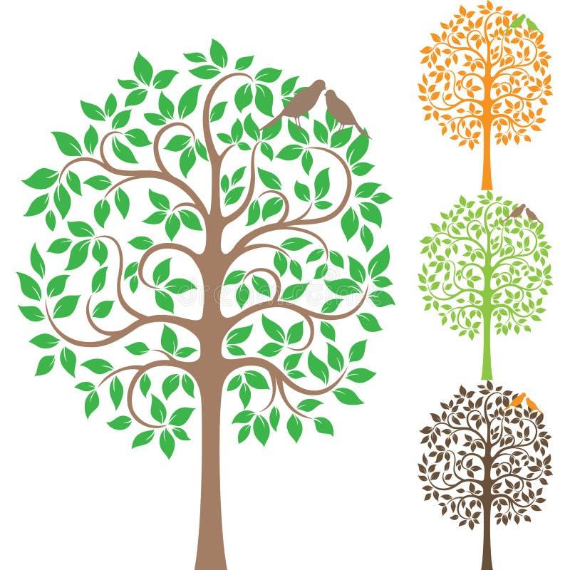 2 птицы на дереве иллюстрация вектора