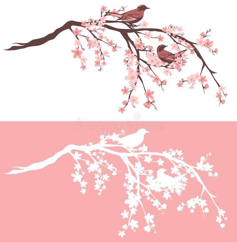 Птицы на зацветая комплекте дизайна вектора дерева Сакуры иллюстрация вектора