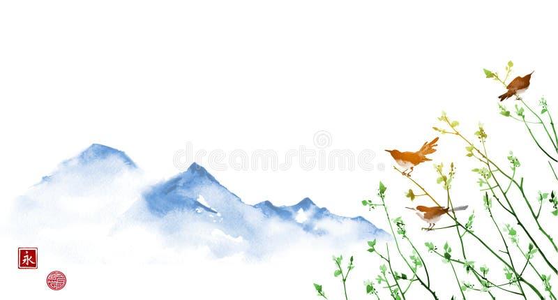 Птицы на молодых ветвях дерева и значительно голубых горах традиционно бесплатная иллюстрация