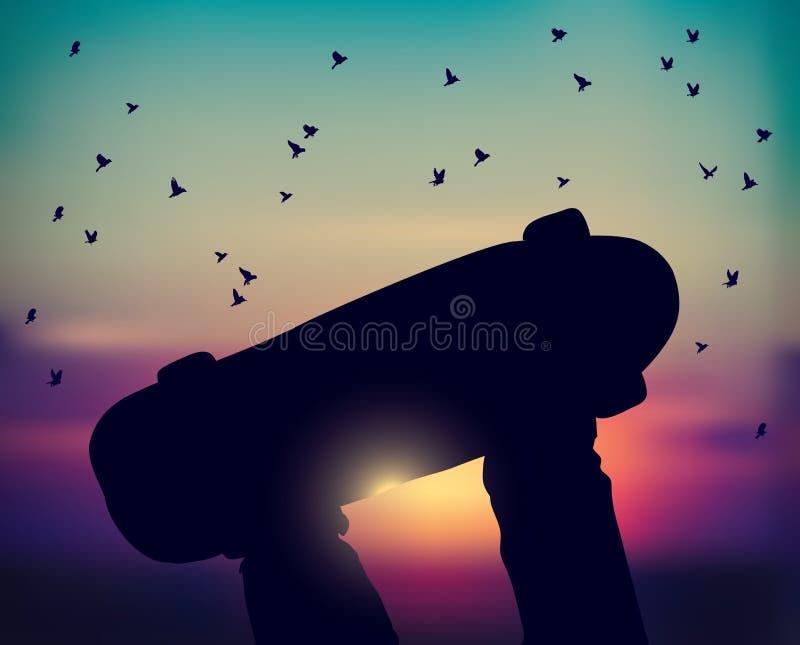 Птицы неба скейтборда и захода солнца скейтбордиста ног летают бесплатная иллюстрация