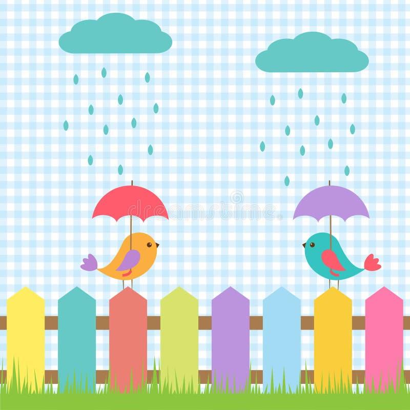 Птицы под зонтиками бесплатная иллюстрация