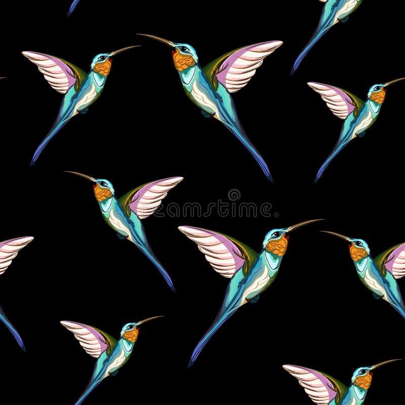 Птицы припевать Безшовная картина экзотической тропической птицы припевать иллюстратор иллюстрации руки чертежа угля щетки нарисо бесплатная иллюстрация