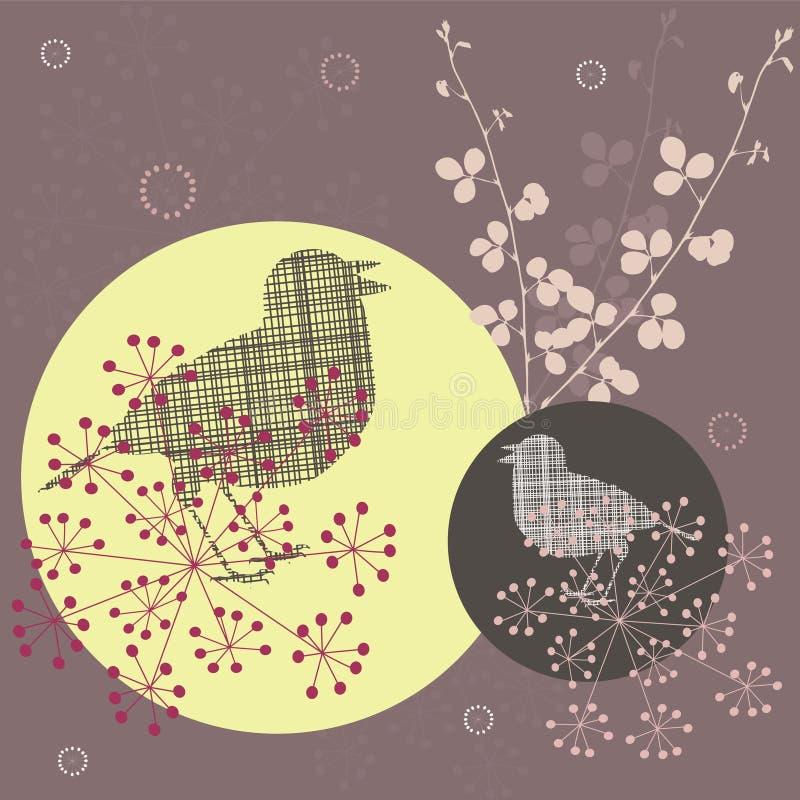 птицы ретро иллюстрация вектора